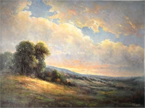 HILLSIDE LANDSCAPE BRIGHT SKY by L EPPER
