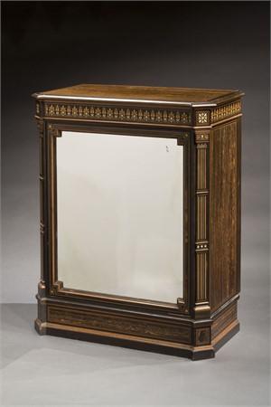 EBONY MIRRORED PIER CABINET, English, circa 1870-75