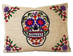 Rectangular Embroidered Skull Pillow on Linen - Assorted Colors