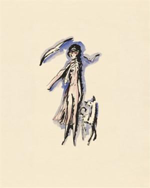 Woman Walking Dog -La Garconne Series- Une femme va promener le chien, 2011