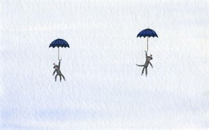 Two Sock Monkeys in Sky