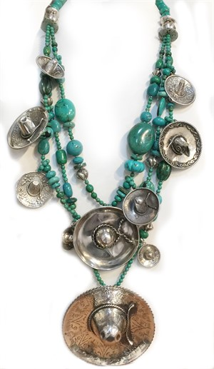 KY 1301C - 3 Strand Turquoise with Sterling Silver Sombreros, 2019