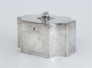 GEORGE III ENGRAVED SILVER TEA CADDY, English, 1801