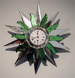 SUNBURST MIRROR CLOCK , French, 20th century