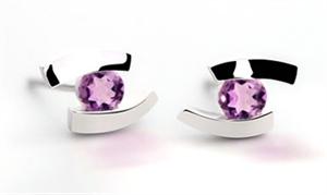 Earrings - Sterling Silver & Amethyst Floating E3059AM
