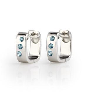 Earrings - Huggies, Blue Topaz & Brushed .925 Silver