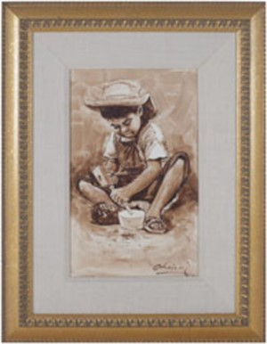 Nino Trabajador (Child Carving Wooden Bowl)-Ayacucho, 1992