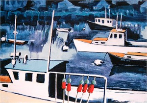 Lobster boats with indigo blue