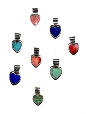 Pendant - Sterling Silver & Stone Hearts DD 55