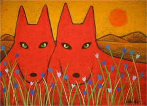 SOLD 'Red Wolves/Red Sun'