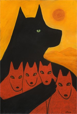 "PROTECTOR WITH PUPS - limited edition giclee on canvas (large) 44""x30"" $3500 or (medium) 38""x26"" $2200 or on paper w/frame size of: (large) 50""x37"" $3700 or (medium) 38""x26"" $2200 (/100)"