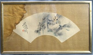 SET OF TWO CHINESE PAPER FANS WITH SAGE AND COMPANION, LANDSCAPE AND CALLIGRAPHY, 1953
