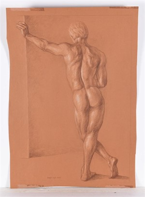 DRAWING OF MALE MODEL , American, 20th century