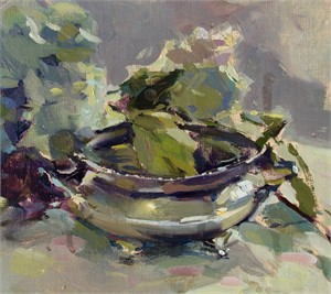 Hydrangea & Silver Bowl