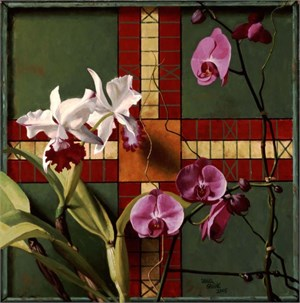 Antique Green Gameboard & Orchids