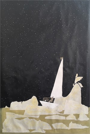 Night Sky Sailing A Yellow Sea With Waves, 2018