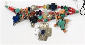 KY 1338 - Bracelet Four Strand Multi Color Cross, 2020