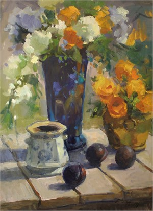 Blue Vase with Plums