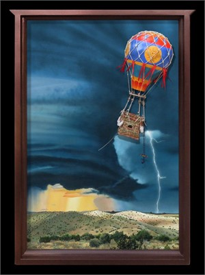Flying in Spite of it All - acrylic on wood panel. Balloon: woven reed gondola basket, gourd, wood and hemp cord., 2019