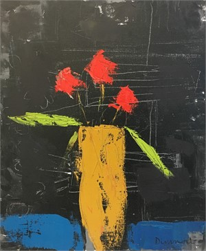 Three Flowers, Ochre Vase
