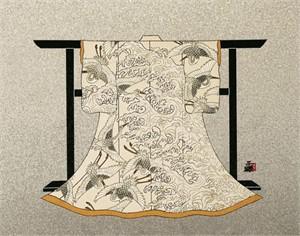 Egrets And Waves (Kimono)