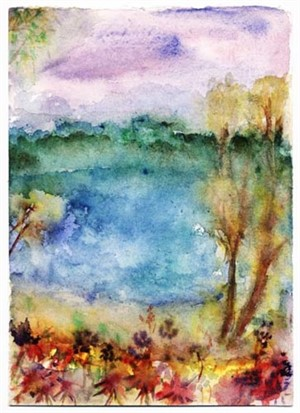 First Signs of Autumn on Beaver Lake after original 1999 watercolor, 2005