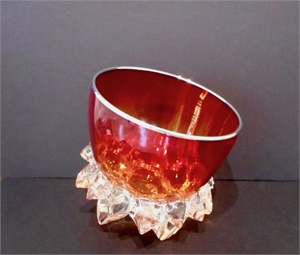 Small Thorn Vessel XVIII (Cherry Red/Silver) by Andrew Madvin