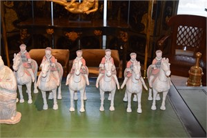 GROUP OF SIX POTTERY HORSES AND RIDERS