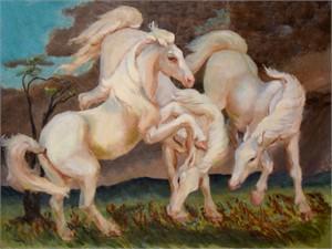White Stallions, c. 1945