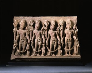 SANDSTONE FRIEZE WITH ARDHANARIZVARA WITH ATTENDANTS, Indian, 11th-12th century