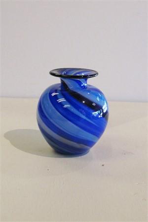 Vase, hunny pot- twisted canes blue