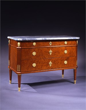 LOUIS XVI MAHOGANY COMMODE WITH MARBLE TOP ATTRIB. TO LELEU, French, circa 1785