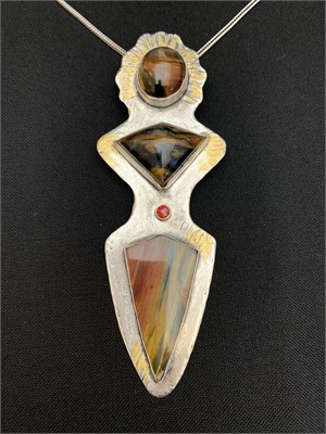 Pendant - Sterling Silver, Pietersite - South Aferica, Red Garnet set in 14k gold tube setting, Accented with Gold Keumbu  AS037, 2019
