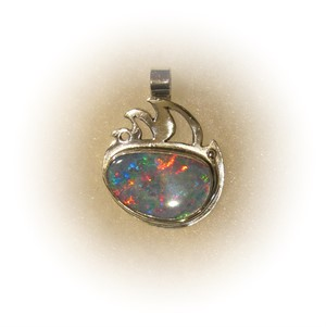 Sterling Silver with Fire Opal Pendant on Chain, 2018