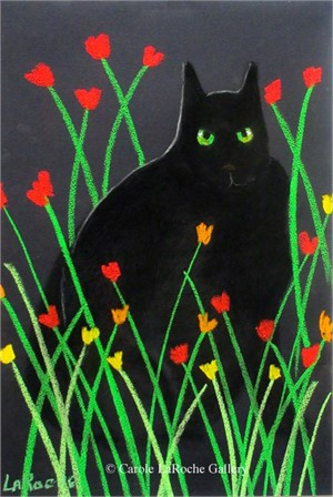 BLACK CAT AND FLOWERS II