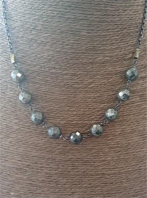 Pyrite, Hematite Short Necklace, 2019