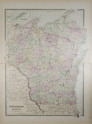 Wisconsin Map Showing Northwestern Portion of Michigan, 1889