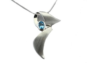 Pendant - Ribbon Swirl in Sterling Silver 14K Gold Blue Topaz
