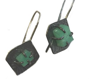Earrings - Silver & Chrysoprase