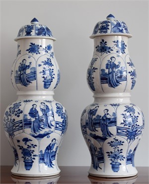 PAIR OF BLUE AND WHITE DOUBLE BALUSTER VASES , Kangxi Period (1662-1722)