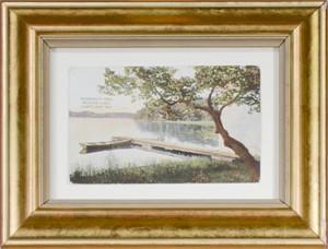 Rudberg's Pier, Beaver Lake, Hartland, WI, 3 3/8 x 5 3/8