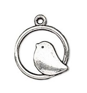 Necklace - Bird in Circle Antique Silver Tone