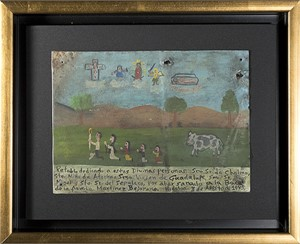Retablo Exvotos (Replica Family w/Cow's Vision, Christ & Saints), 1992