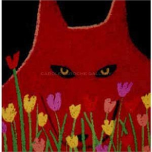 "SINGLE RED WOLF AND FLOWERS - limited edition giclee on paper w/frame size of 23""x20"""
