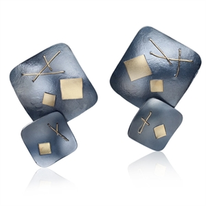 Interwoven Large Square Clip Earrings - Oxidized