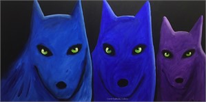 PURPLE AND BLUE WOLVES