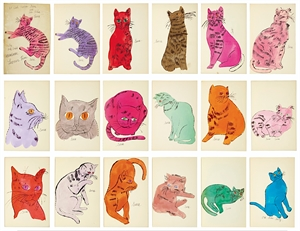 25 Cats Name(d) Sam and One Blue Pussy (complete intact book of watercolors), 1954