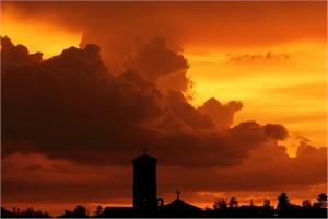 Card - Sunset Over Sacred Heart, Nogales