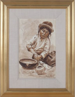 Nina Alfarera (Child Making Pottery)-Puno, 1992