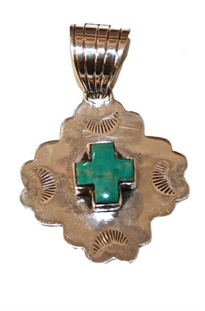 Pendant - Sterling Silver & Turquoise Cross DD 70